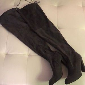 Dark Gray over the knee heeled boots sexy slouchy